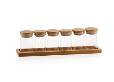 Spices - 6-jar bamboo and glass spice rack CC70110 - ANDREA HOUSE