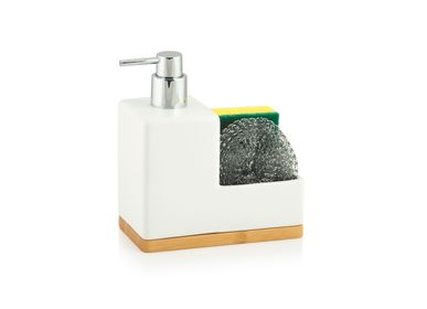 Kitchen utensils - Ceramic and bamboo soap dispenser w/sponge and scrubber CC70121 - ANDREA HOUSE