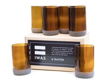 Tea / coffee accessories - Tall Auburn Drinking Glasses (set of 6) 350ml Upcycled from Bottles - IWAS