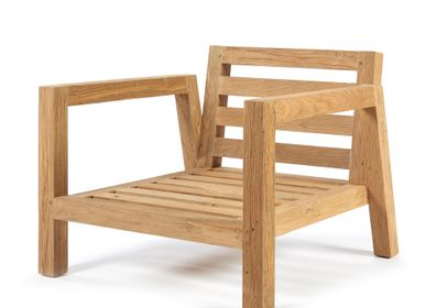 Lawn chairs - Salvador chair 2 arms natural teak - SEMPRE LIFE