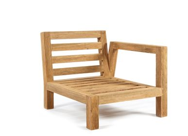 Lawn chairs - Salvador chair 1 arm left natural teak - SEMPRE LIFE