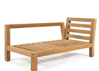 Lawn chairs - Salvador chaise longue left natural teak - SEMPRE LIFE