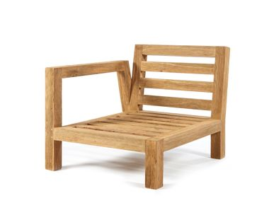Lawn chairs - Salvador chair 1 arm right natural teak - SEMPRE LIFE