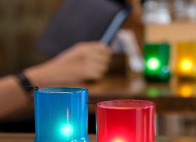 Decorative objects - Coloured Frosted Tealight Holders with Tealights (set of 4) Upcycled from Soda Bottels - IWAS PRODUCTS