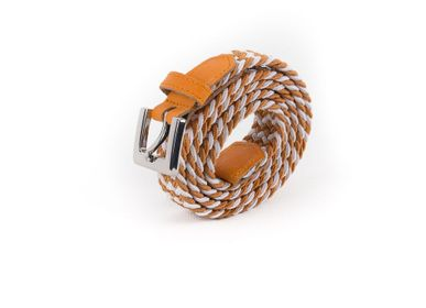 Leather goods - Women's braided belt orange white - VERTICAL L ACCESSOIRE