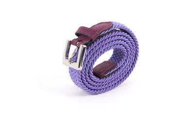 Leather goods - Women's braided belt burgundy purple - VERTICAL L ACCESSOIRE