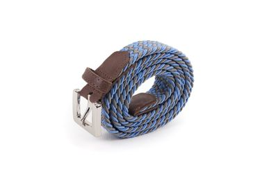 Leather goods - Women's braided belt blue grey - VERTICAL L ACCESSOIRE