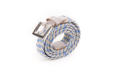 Leather goods - Women's braided belt light blue beige - VERTICAL L ACCESSOIRE