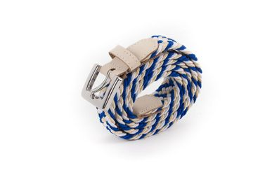 Leather goods - Women's braided belt cream blue white - VERTICAL L ACCESSOIRE