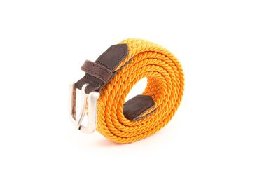 Leather goods - Women's orange braided belt - VERTICAL L ACCESSOIRE