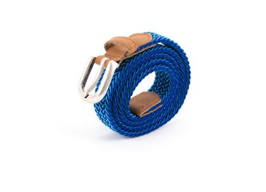 Leather goods - Women's braided belt blue white - VERTICAL L ACCESSOIRE