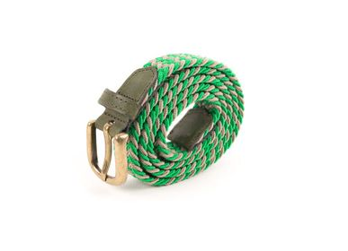 Leather goods - Women's braided belt green brown - VERTICAL L ACCESSOIRE