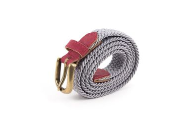 Leather goods - Women's braided belt burgundy grey - VERTICAL L ACCESSOIRE