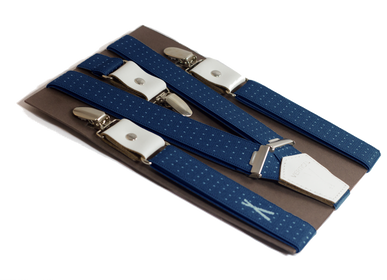 Leather goods - Dotted navy suspenders - VERTICAL L ACCESSOIRE