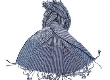 Foulards / écharpes - Krama blanc bleu petits carreaux - SARANY SHOP