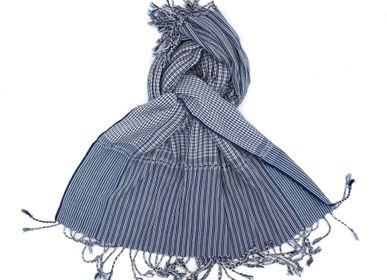 Foulards / écharpes - Echarpe Krama blanc bleu petits carreaux - SARANY SHOP