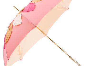 Floral decoration - BEAUTIFUL PINK UMBRELLA WITH LEAVES, DOUBLE CLOTH - PASOTTI