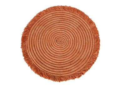 "Table mat - 15"" Peach Large Fringed Charger - ALL ACROSS AFRICA + KAZI"