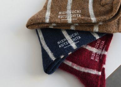 Chaussettes - MOHAIR WOOL BORDER SOCKS - NISHIGUCHI KUTSUSHITA