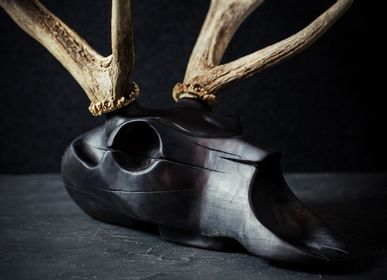 Sculpture - Wooden Animal Skull Sculptures with Real Horns - ATELIER PEV