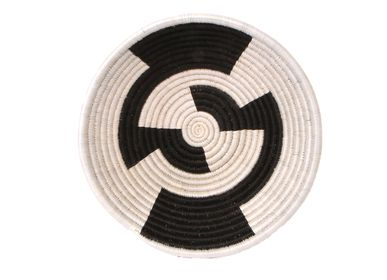 "Decorative objects - 12"" Large Black + White Round Basket - ALL ACROSS AFRICA + KAZI"