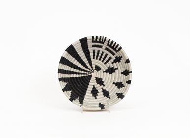 "Wall decoration - 6"" Small Black + White Fani Round Basket - ALL ACROSS AFRICA + KAZI"