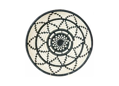 "Wall decoration - 12"" Large Black + White Thousand Hills Round Basket - ALL ACROSS AFRICA + KAZI"