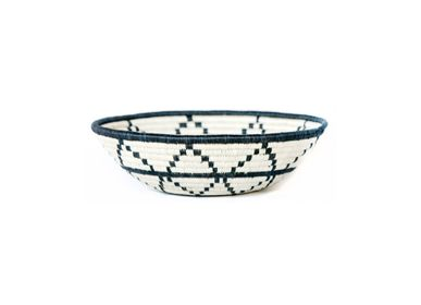 "Other wall decoration - 12"" Large Black + White Thousand Hills Round Basket - ALL ACROSS AFRICA + KAZI"