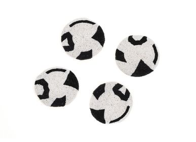 Stemware - Black Beaded Atelier Coaster 01, Set of 4 - ALL ACROSS AFRICA + KAZI