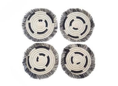 Stemware - Fringed Black + White Geo Drink Coasters, Set of 4 - ALL ACROSS AFRICA + KAZI