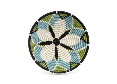 "Wall decoration - 12"" Large Pastel Green + Dusk Blue Hope Round Basket - ALL ACROSS AFRICA + KAZI"