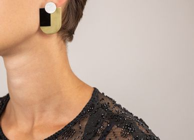 Jewelry - Brass stone earrings - L'INDOCHINEUR PARIS HANOI