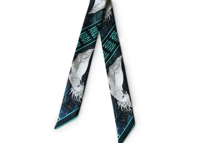 Scarves - TURQUOISE COCKATOO KNOTTED FETISH PRINTED SILK TWILL BRACELET - MAISON FÉTICHE