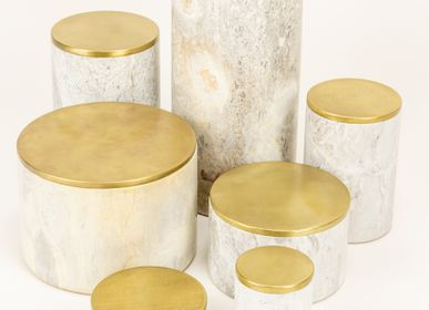 Decorative objects - Round stone and brass boxes - L'INDOCHINEUR PARIS HANOI