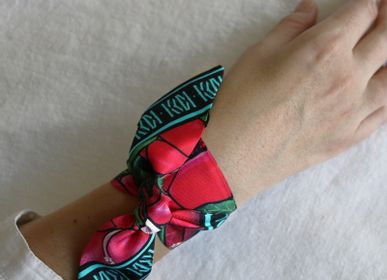 Jewelry - HIBISCUS BLUE SKY KNOTTED FETISH PRINTED SILK TWILL BRACELET - MAISON FÉTICHE
