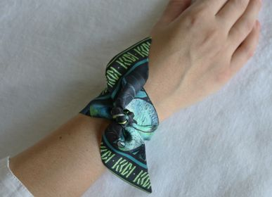 Scarves - NIGHT THEATRE GREEN LIGHT KNOTTED FETISH PRINTED SILK TWILL BRACELET - MAISON FÉTICHE