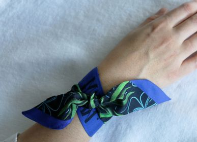 Scarves - BLUE PALM KNOTTED FETISH PRINTED SILK TWILL BRACELET - MAISON FÉTICHE