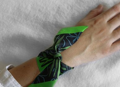 Scarves - GREEN PALM KNOTTED FETISH TWILL DE SOIE IMPRIMÉ À NOUER - MAISON FÉTICHE