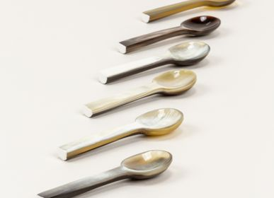 Cutlery service - Set of 6 salt spoons in natural horn - L'INDOCHINEUR PARIS HANOI