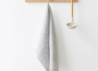 Dish towels - Thin Black Stripe Kitchen Towel - LINEN TALES