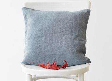 Cushions - Blue Fog Linen Cushion Cover - LINEN TALES
