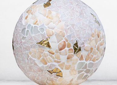 "Table lamps - Lamp ""Dream"" white and gold - ATELIER DE MOSAIQUE L.TORNO"