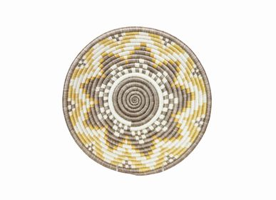 "Wall decoration - 12"" Large Gold Hope Round Basket - ALL ACROSS AFRICA + KAZI"