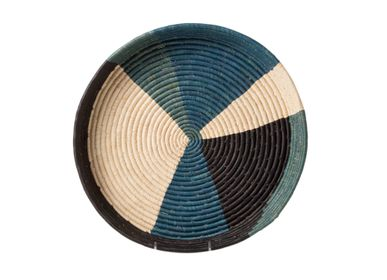 Platter, bowls - Cool Color Blocked Raffia Tray - ALL ACROSS AFRICA + KAZI