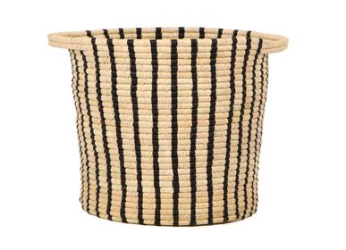 Storage box - Black + Natural Striped Raffia Floor Storage Basket - ALL ACROSS AFRICA + KAZI