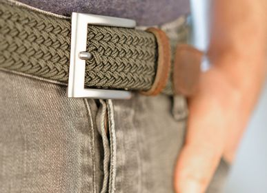 Leather goods - Khaki braided belt - VERTICAL L ACCESSOIRE