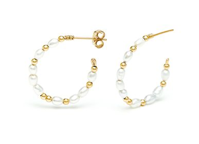 Jewelry - Rice Grain Hoop Earrings - YAY PARIS