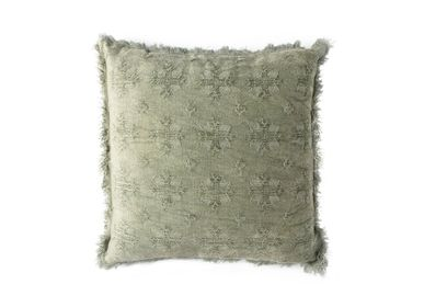 Cushions - Cross green cotton cushion AX70200 - ANDREA HOUSE