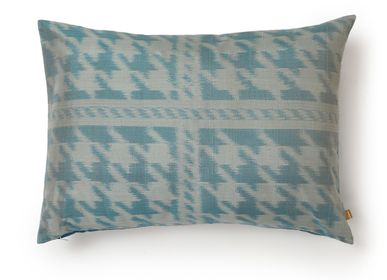 Cushions - Houndstooth Atlantic Deep - AADYAM HANDWOVEN