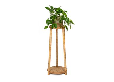 Decorative objects - Rattan and wood plant stand AX70236 - ANDREA HOUSE